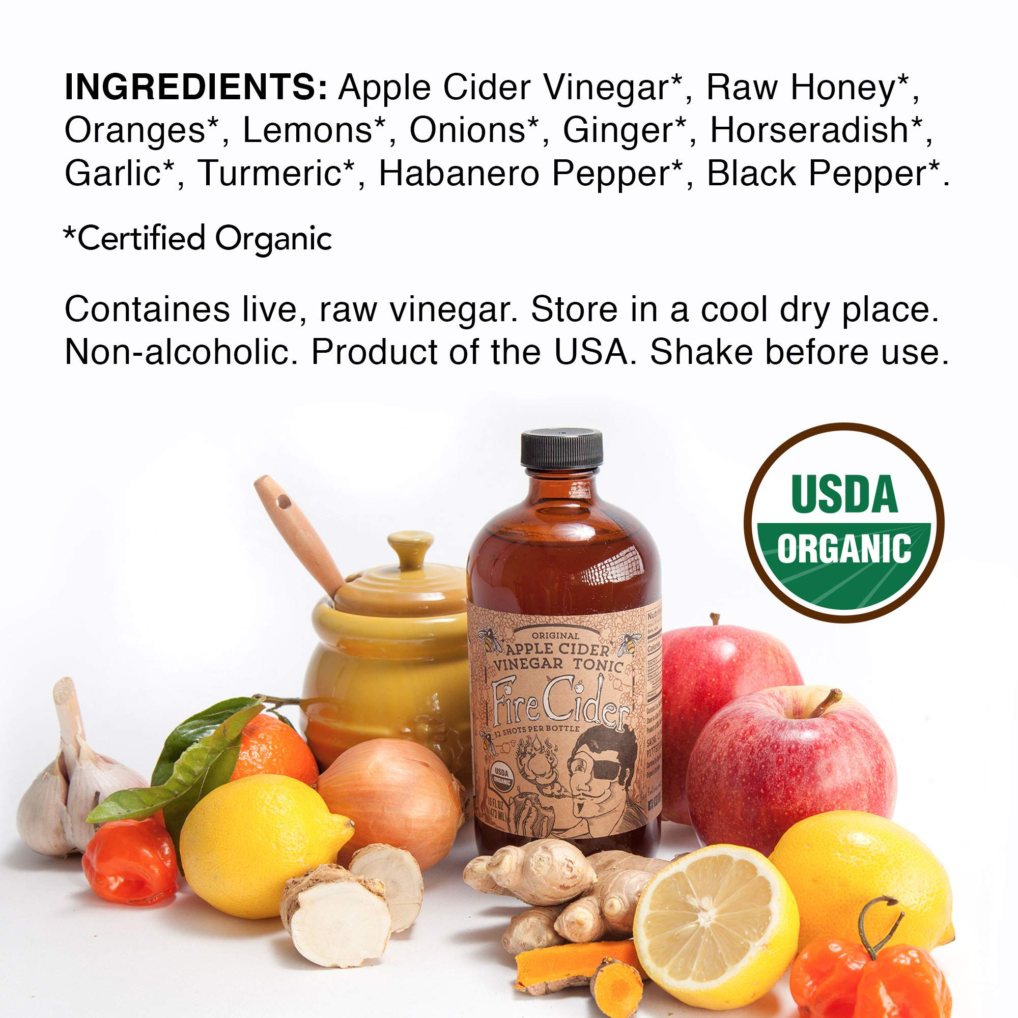 Fire Cider, Apple Cider Vinegar Tonic with Honey, Original Flavor, Pure & Raw, All Certified Organic Ingredients, Not Heat Processed, Not Pasteurized, Paleo, Keto, 128 Shots, 64 oz. by FIRE CIDER (Image #5)