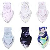 Finrezio 6 Pcs Printing Floral Bandanas for Women Chiffon Scarf Outdoor Sunscreen Headwear UV Face Bandana Ice Silk Headband