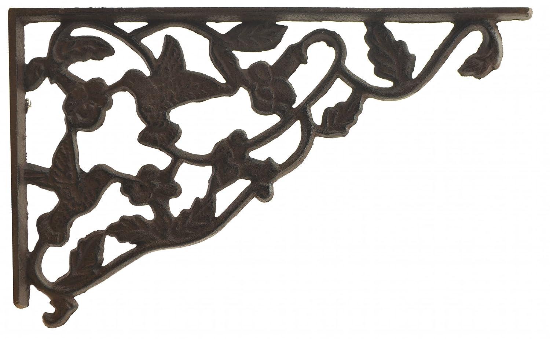 Import Wholesales Shelf Bracket Decorative Cast Iron Wall Brace Hummingbird & Vine Pattern 11.75' SBR0002