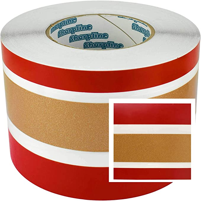 STINGRAY 1in RED//WHITE//GOLD BOAT PINSTRIPE TAPE