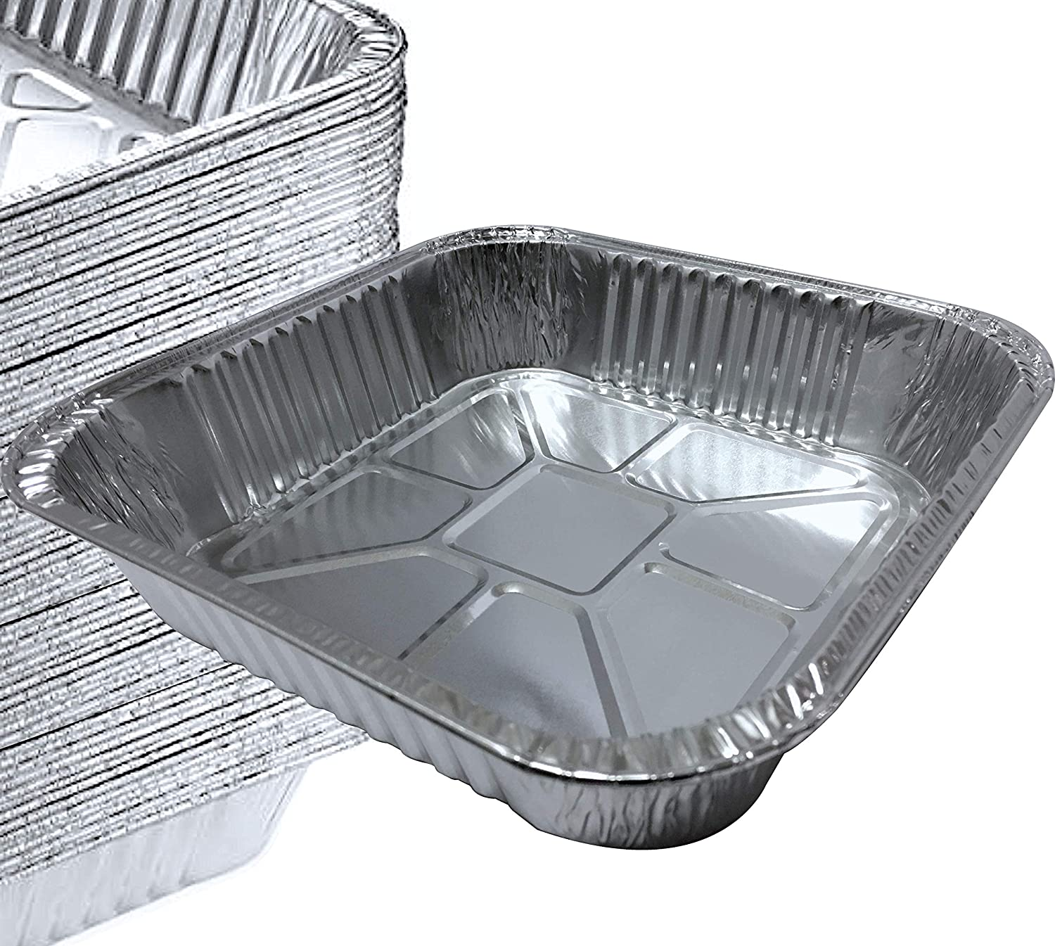 "55 PACK - 8"" x 8"" Square Pans I Deli Brownie Pan I Square Baking Pans I Cake Pans I Aluminum Brownie Pan I Square Foil Pans for Baking, Roasting, Broiling & Cooking. Ideal for Tasty Brownies & Cakes"