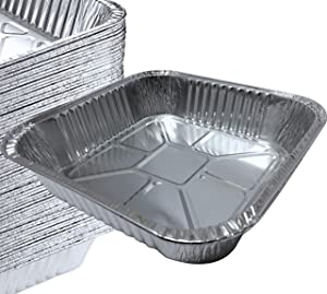 """55 PACK - 8"""" x 8"""" Square Pans I Deli Brownie Pan I Square Baking Pans I Cake Pans I Aluminum Brownie Pan I Square Foil Pans for Baking, Roasting, Broiling & Cooking. Ideal for Tasty Brownies & Cakes"""