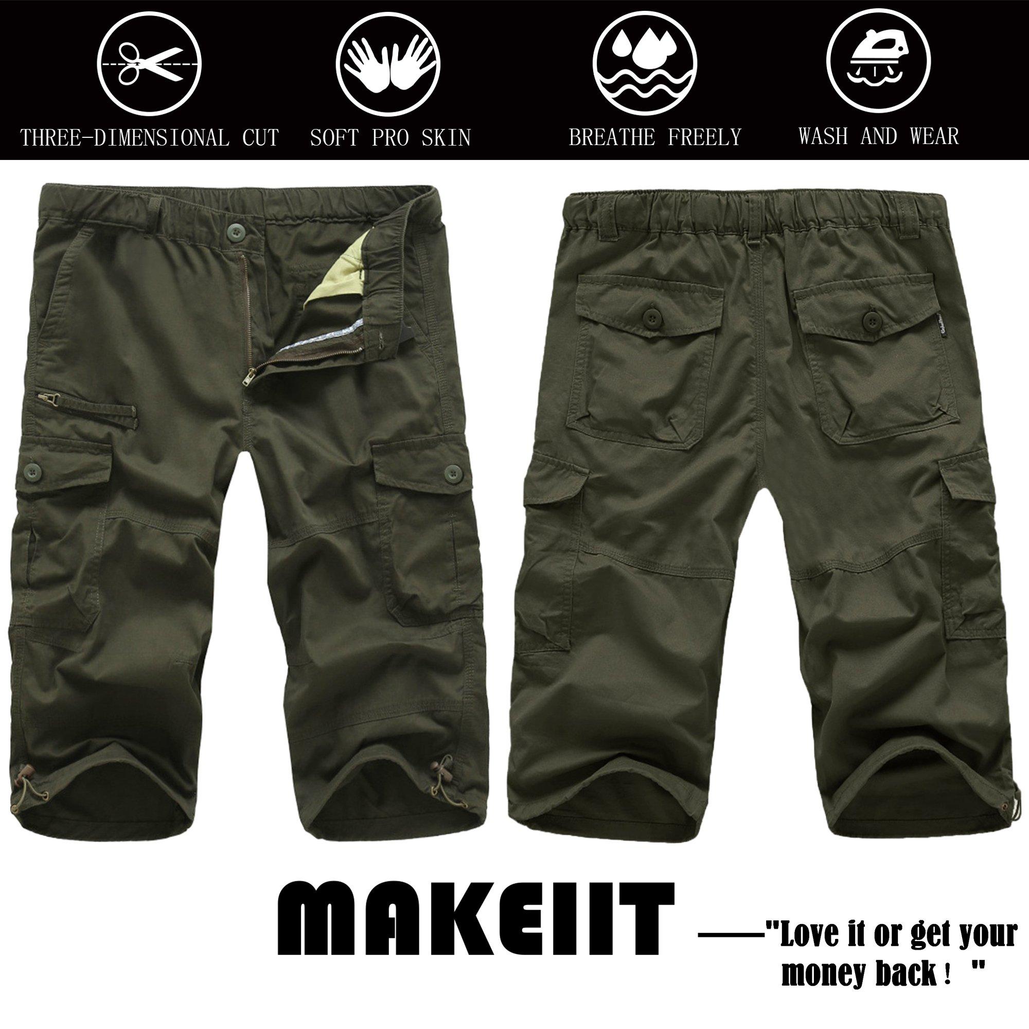 MAKEIIT Men's Juniors Cargo Shorts XXXL Cargo Shorts Dri Fit Cargo Shorts with Multi-Pocket by MAKEIIT (Image #6)