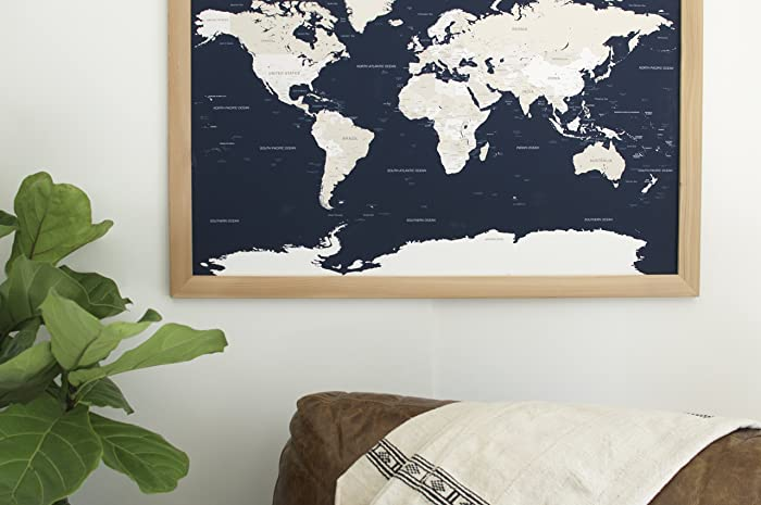 Amazon Large Navy World Natural Map Large Push Pin Travel – Push Pin Travel Maps