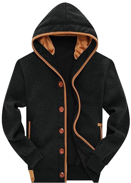 Wantdo Men's Fleece Button Hoodie Sweatshirts Jacket at Amazon ...