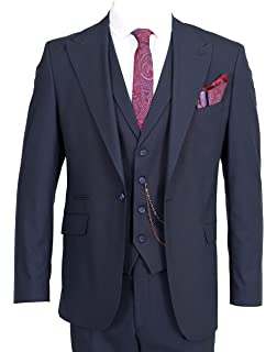 65bd34418a3d81 Jack Martin - Navy Semi Plain 3 Piece Suit with Collared Waistcoat (Percy)