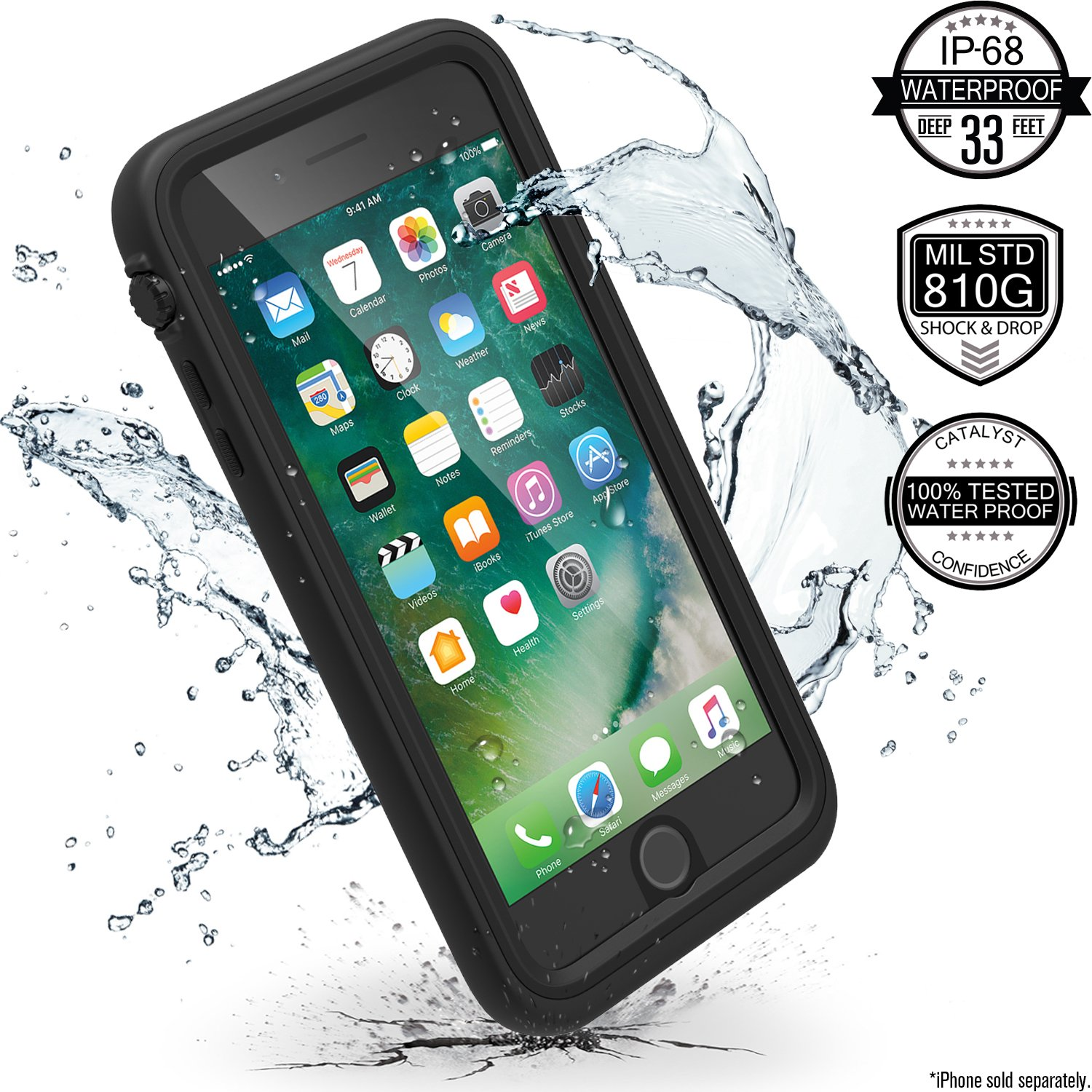 iPhone 7 Plus Waterproof Case, Shock Proof, Drop Proof by Catalyst for Apple iPhone 7+ with High Touch Sensitivity ID (Stealth Black) by Catalyst