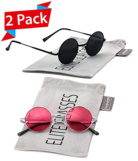 23c461ff82 John Lennon Hipster Fashion Sunglasses Small Metal Round Circle Elton Style  (2 PACK  Black and Pink 40)  Amazon.in  Clothing   Accessories