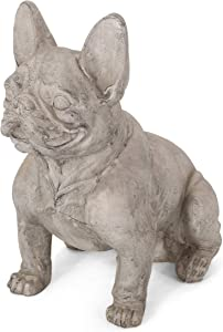 Christopher Knight Home Susan Outdoor French Bulldog Garden Statue, Rustic White and Green