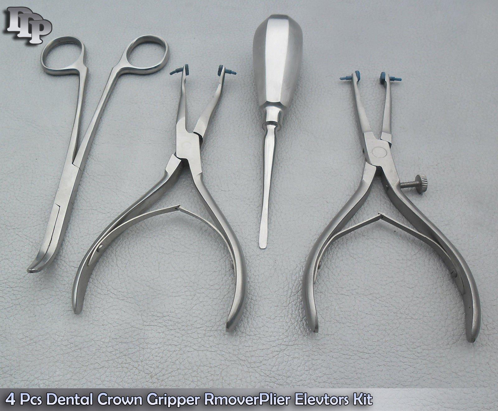 Set of 4 Pcs Dental Crown Gripper Remover Pliers Elevators Kit
