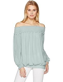 038d1e56070a4 Max Studio Women s Solid Off The Shoulder Cinched Sleeve Top