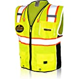 KwikSafety (Charlotte, NC) CLASSIC (X-Large Yellow)| 10 Pockets Class 2 ANSI High Visibility Reflective Safety Vest…