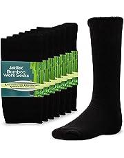 JaloTek Bamboo Work Socks For Men, Thick Black Heavy Duty All Day Comfort 7 Pairs
