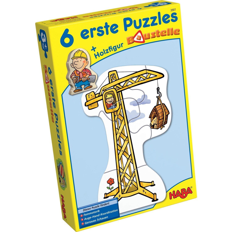 Haba 3901 - 6 erste Puzzles Baustelle, Puzzle mit 6 lustigen Baustellenmotiven für Kinder ab 2 Jahren, mit Bauarbeiterholzfigur zum freien Spielen Habermaass GmbH Fahrzeuge & Kinderpuzzles
