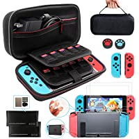 Switch Case Compatible for Nintendo Switch Carrying Case Accessories Bundle Fit AC Adapter KilYn 10IN1 with Travel Case…