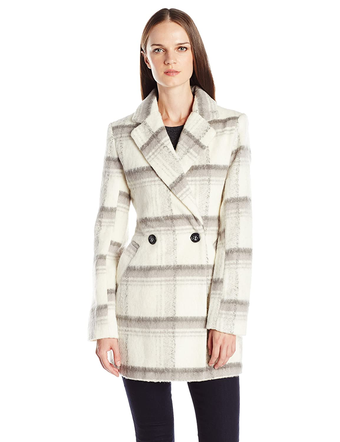 Byer California Women's Plaid Faux Mohair Wool Oversized Peacoat Byer California Outerwear BW68040