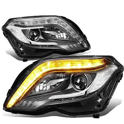 For 13-15 Mercedes-Benz X204 GLK Class Pair Black Housing HID Projector  Headlight W/LED DRL & Turn Signal Light