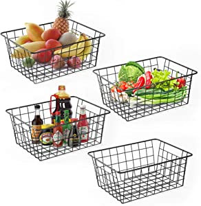 Wire Baskets for Organizing Household Pantry Baskets 4 Pack Metal Baskets for Pantry Storage Fruit Drinks Wire Storage Basket Freezer Pantry Storage Bins Black Small Wire Baskets