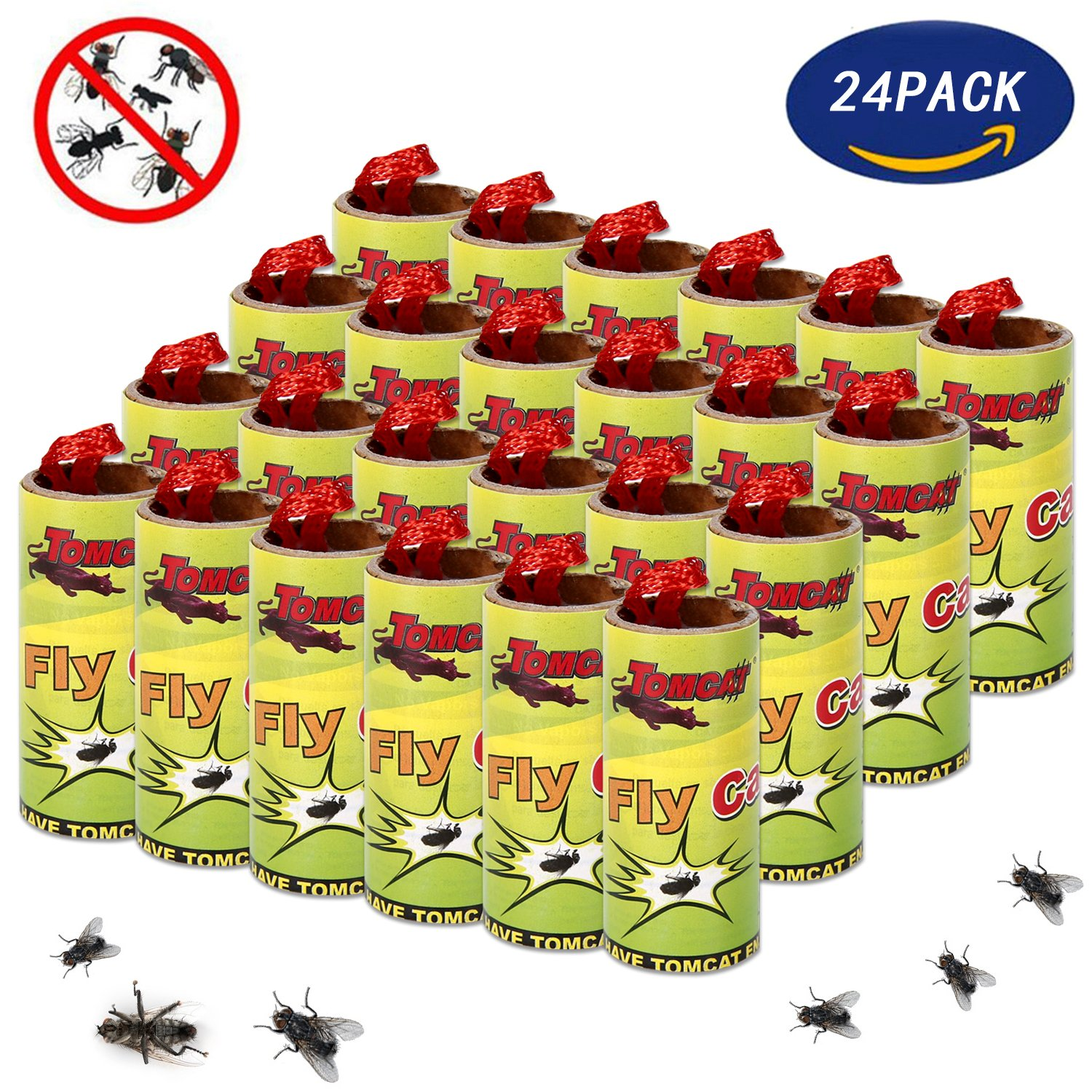 Miohy Fly Paper Strips,Fly Trap, Fly Catcher Trap, Fly Ribbon, Fly Bait Victor Fly Bait -Set of 6 Card,24 PCS
