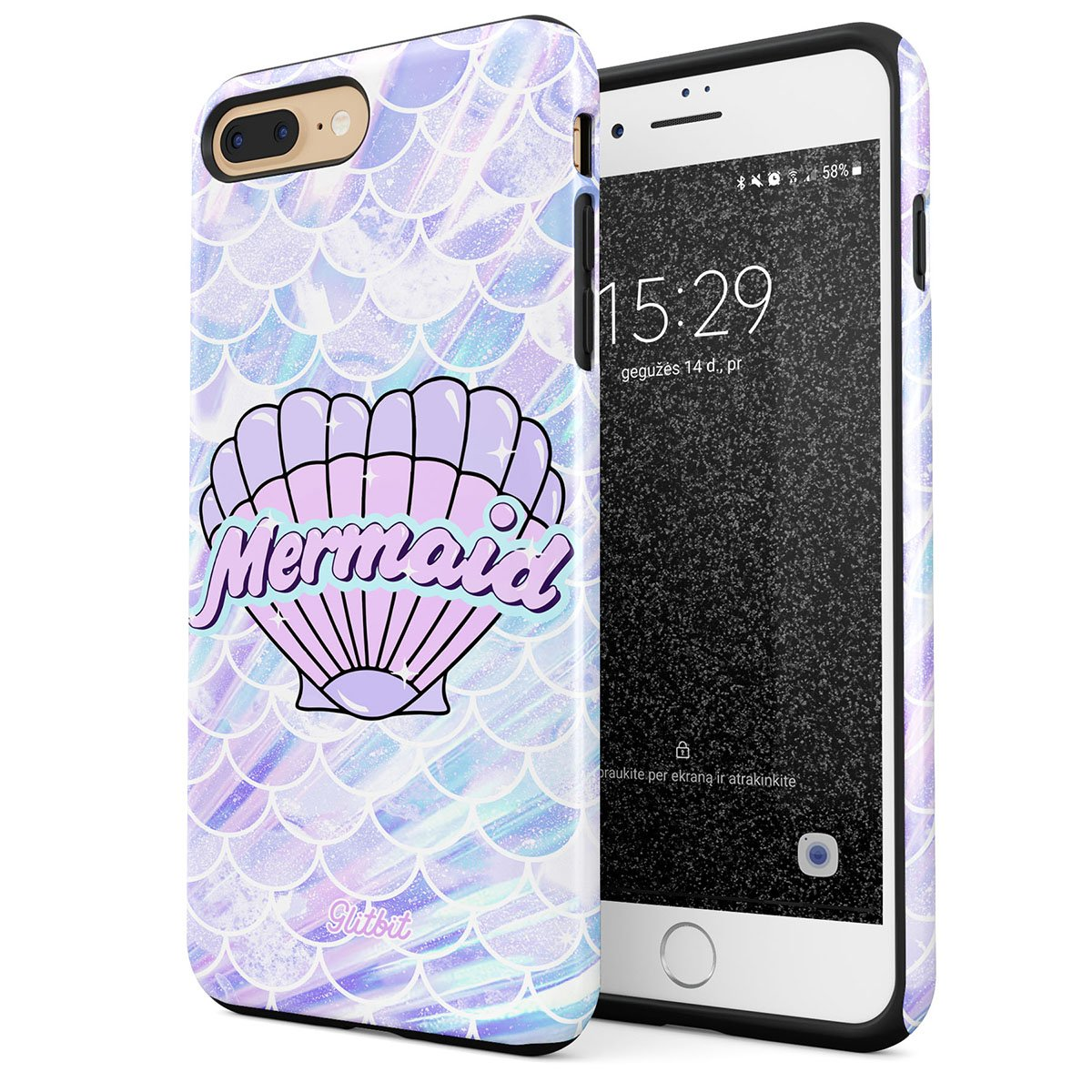Glitbit Compatible with iPhone 7 Plus iPhone 8 Plus Case Mermaid Seashell Paua Abalone Queen Princess of The Ocean Pastel Purple Aesthetic Shockproof Dual Layer Hard Shell + Silicone Protective Cover by Glitbit