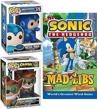 Throw it Back 90s Retro Figure Bundled with Classic Video Collection Mega Man + Crash Bandicoot Vinyl Pop! + Mad Sonic Game Word Libs Book 3 Items: Amazon.es: Juguetes y juegos
