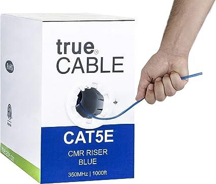 Blue CAT5E Bulk Ethernet Cable 1000FT Riser Lan Network Solid 350Mhz