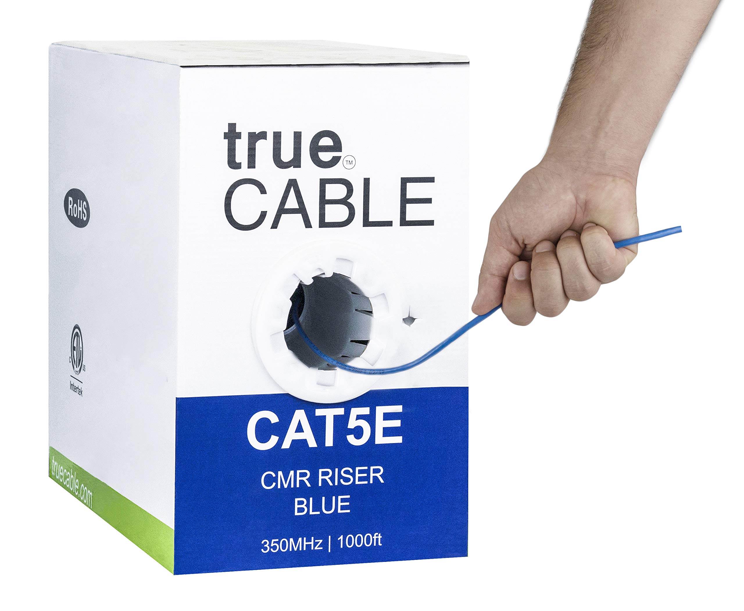 Cat5e Riser (CMR), 1000ft, Blue, 24AWG 4 Pair Solid Bare Copper, 350MHz, ETL Listed, Unshielded Twisted Pair (UTP), Bulk Ethernet Cable, trueCABLE by trueCABLE