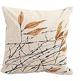 "Createforlife Home Decor Cotton Linen Square Pillowcase Watercolor Art Tree Leaf Throw Pillow Sham Cushion Cover 18"" x 18"""