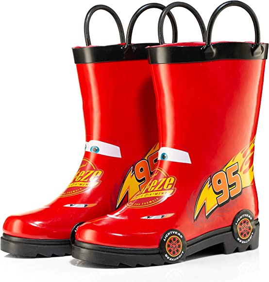 Disney Cars Kids Boys Lightening McQueen Character Printed Waterproof Easy-On Rubber Rain Boots Toddler//Little Kids