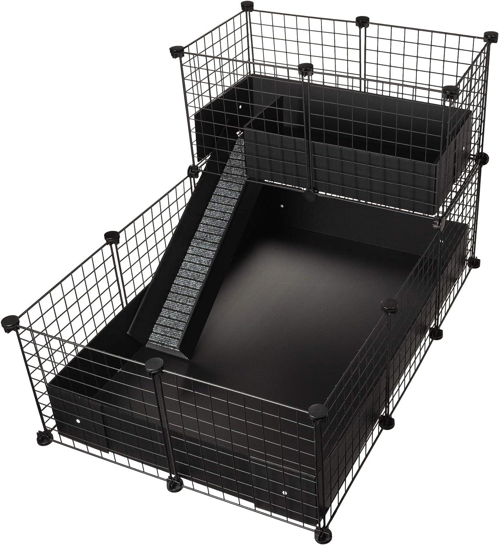 CagesCubes - Jaula CyC Deluxe (Base 2X3 + Loft 2x1 - Panel Negro) + Base de Coroplast en Negro para cobayas