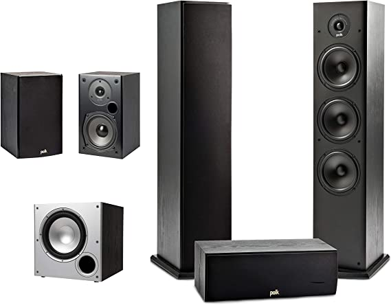 Polk Audio 5.1 Channel Home Theater System with Powered Subwoofer |Two (2) T15 Bookshelf