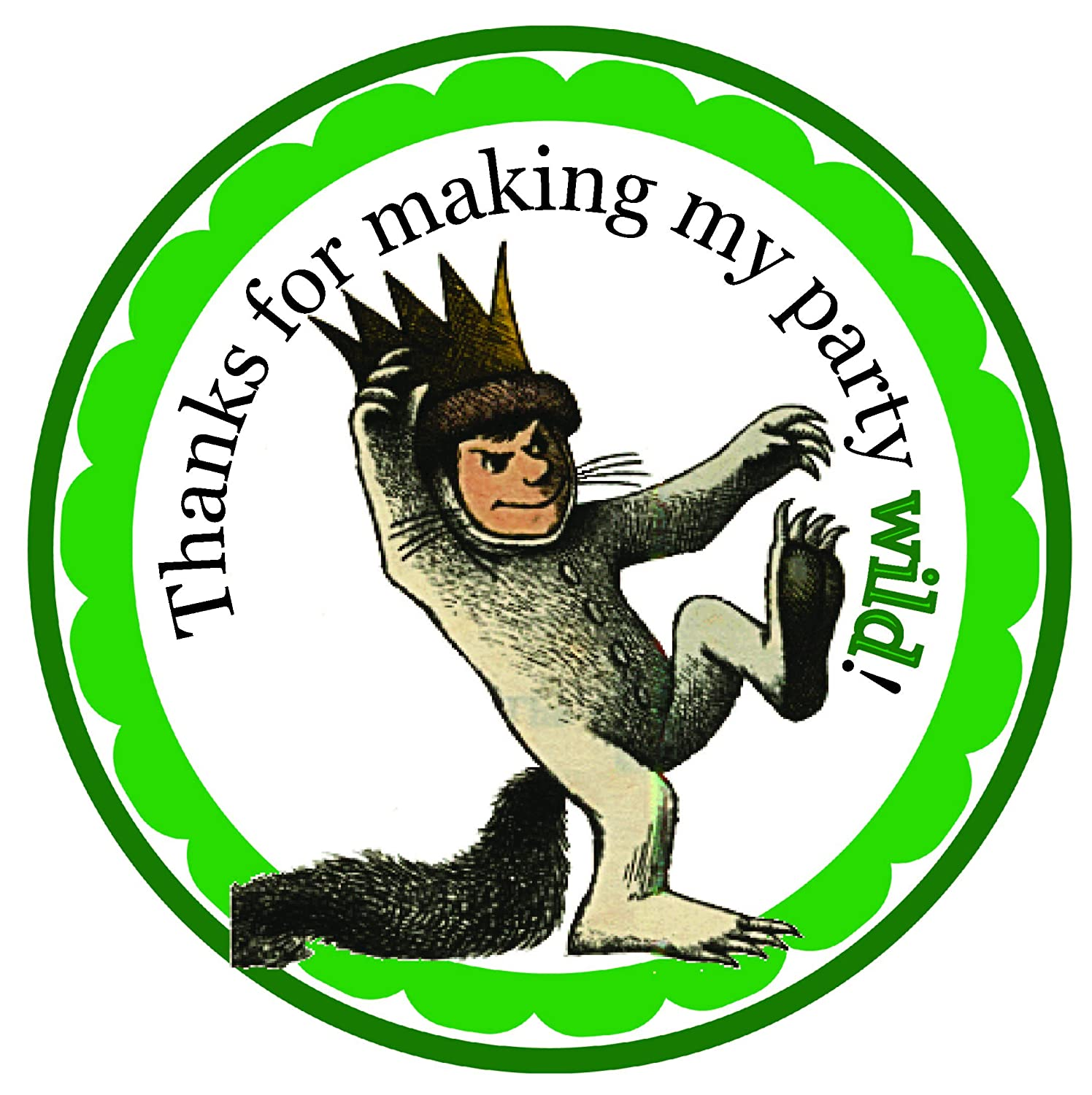 Amazon com where the wild things are opetion 12 or 3 personalized birthday favor stickers labels gift goody treat bag custom treat tags party stickers