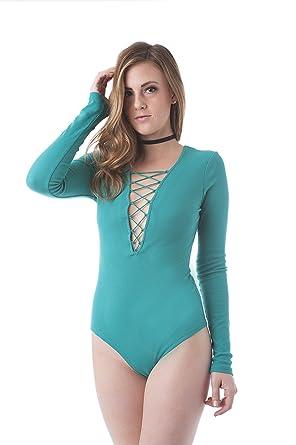 Khanomak Long Sleeve Deep V Neck Strappy Front Bodysuit  Amazon.co ... 7a88adafa
