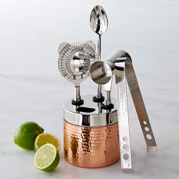 Copper Hammered Bar Tool Set | Williams Sonoma