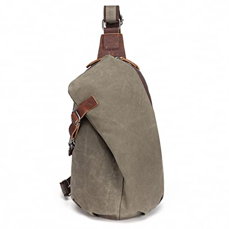 AOTIAN Men s Sling Backpack Waxed Canvas Crossbody Bag 10 Liters Army  Green 5186b85d6