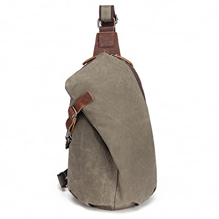 f16fc25987eb AOTIAN Waterproof Waxed Canvas Men s and Women s Small Sling Bags Backpacks  for Hiking Biking Travel Outdoor Casual Chest Bags Green