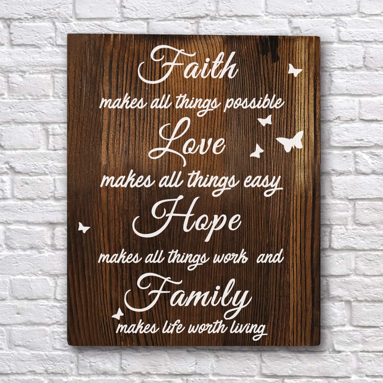 Brilliant Amazon Com Faith Love Hope Family Inspirational Customarchery Wood Chair Design Ideas Customarcherynet