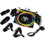 NeeBooFit Resistance Band Set - 5 Exercise Bands with 2 Handles, 2 Ankle Straps, Door Anchor, Carry Bag and Exercise Booklet