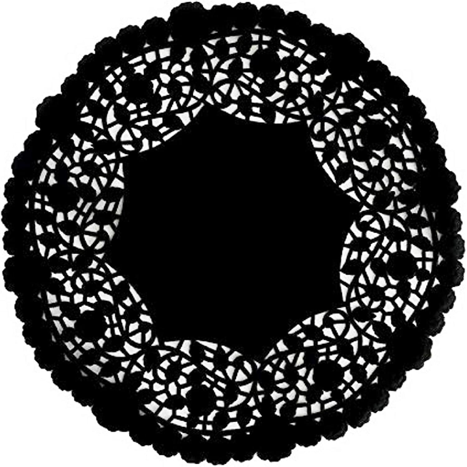 The Baker Celebrations Black Paper Lace Doilies - Pack of 30 - Disposable 10 inches Table Placemats Made in Canada