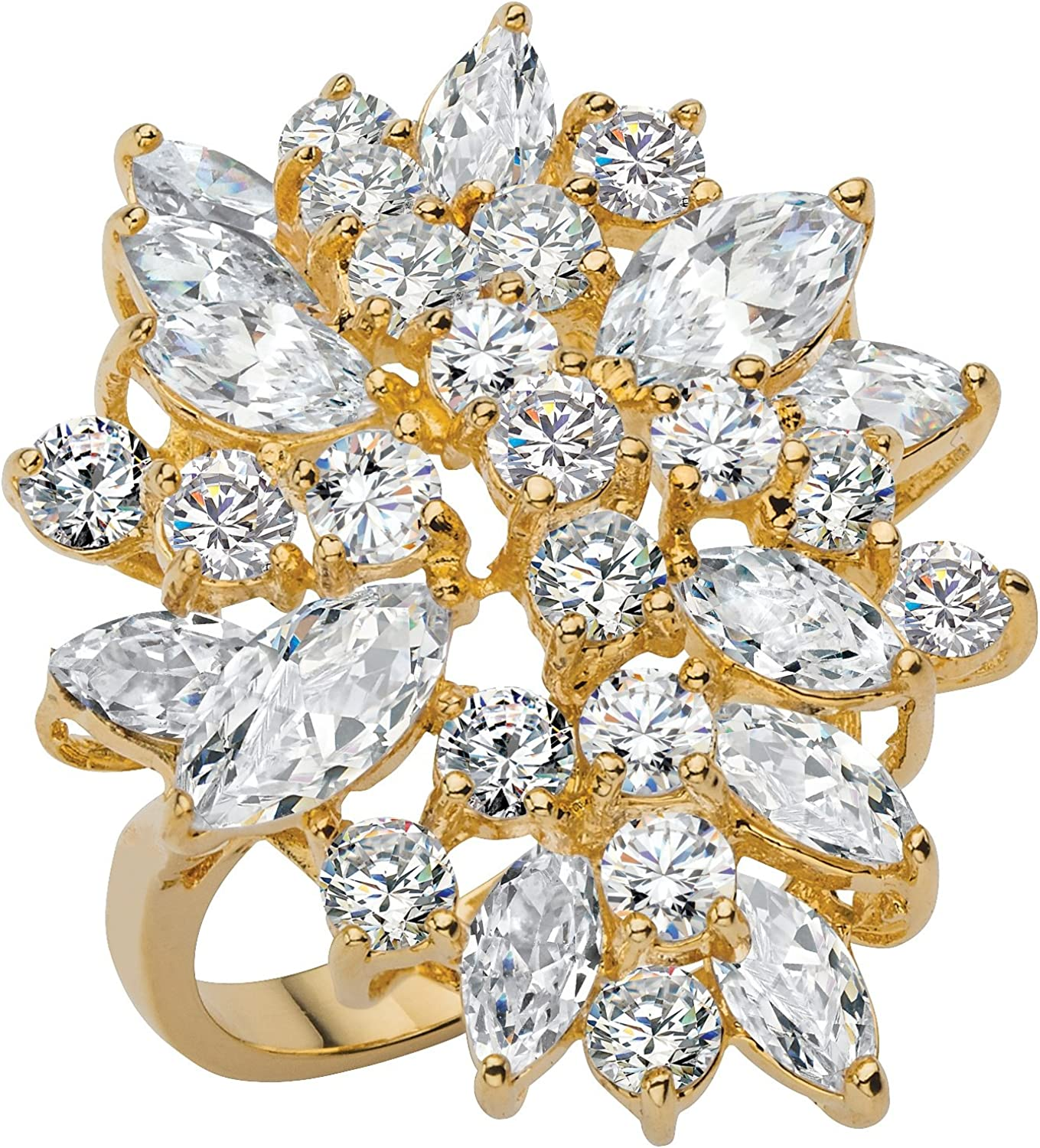 Palm Beach Jewelry 18K Yellow Gold Plated Marquise Cut and Round Cubic Zirconia Cluster Cocktail Ring