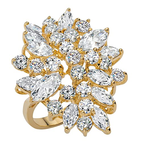 d9bc15e6e Palm Beach Jewelry Marquise-Cut and Round White Cubic Zirconia 18k Yellow  Gold-Plated