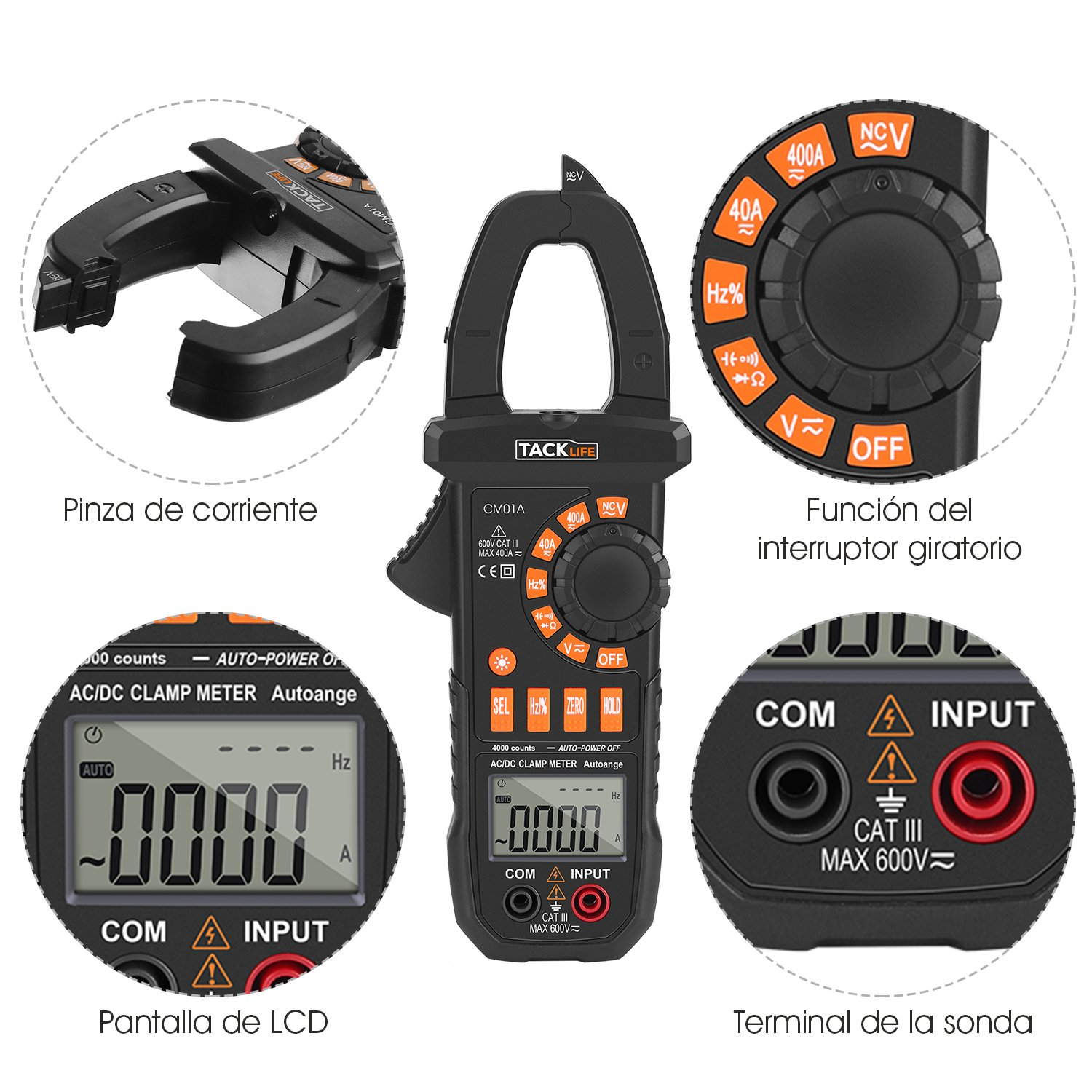 Oferta Pinza Multímetro Digital Tacklife CM02A por 16,99 euros (Cupón Descuento) 2 pinza multimetro digital