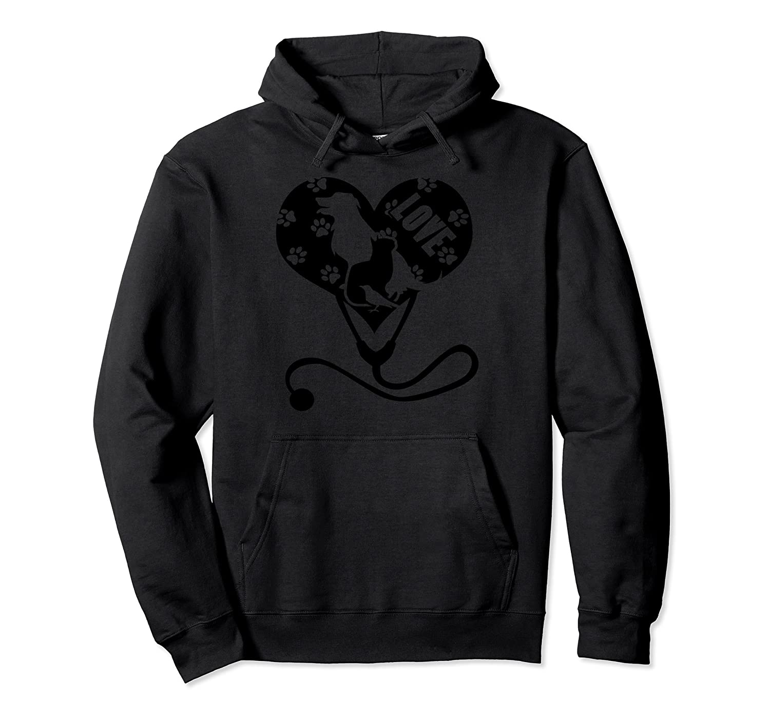 Vet Tech Dog Cat Bird Heart Stethoscope Love Paws Hoodie-AZP