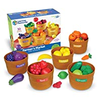 Learning Resources Farmer's Market Color Sorting Set, Homeschool, Play Food, Fruits and Vegetables Toy, Easter Toys, 30 Piece Set, Easter Gifts for Kids, Ages 3+