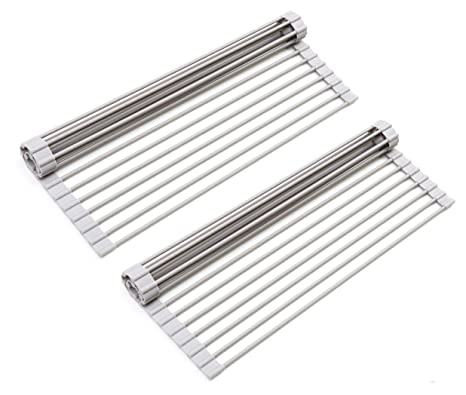 Surpahs Over The Sink Multipurpose Roll Up Dish Drying Rack (Warm Gray, Large)   2 Pack by Surpahs