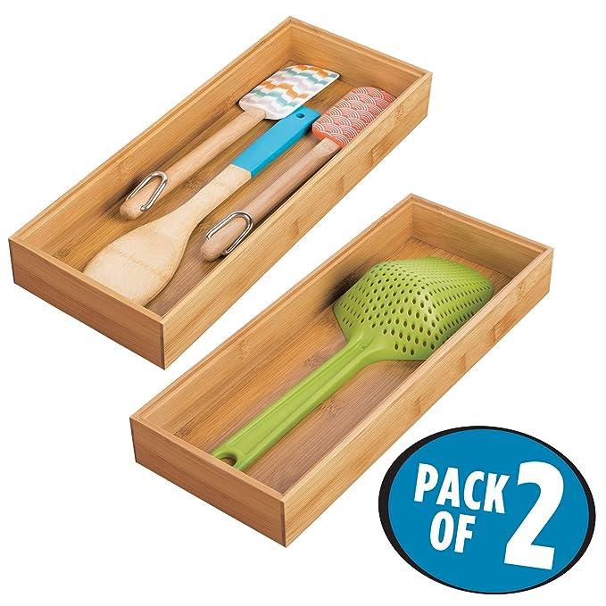 mDesign Juego de 2 separadores de cajones para la cocina - Organizadores para cajones modulares para cubertería y más - Cubertero de bambú para cajones de ...