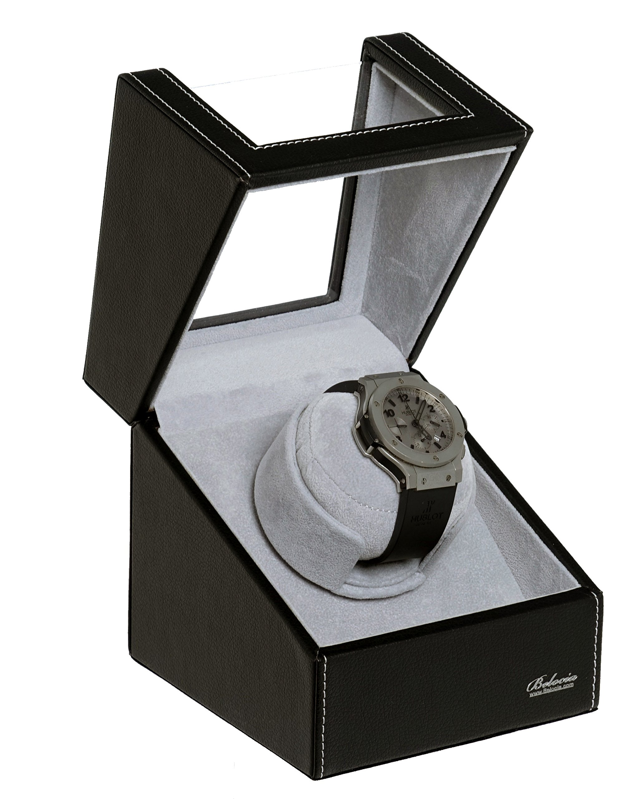 Watch Winder With Japanese Mabuchi Motor, 750, 1000, 1500 and 1800 TPD. (Black/GreyW1)