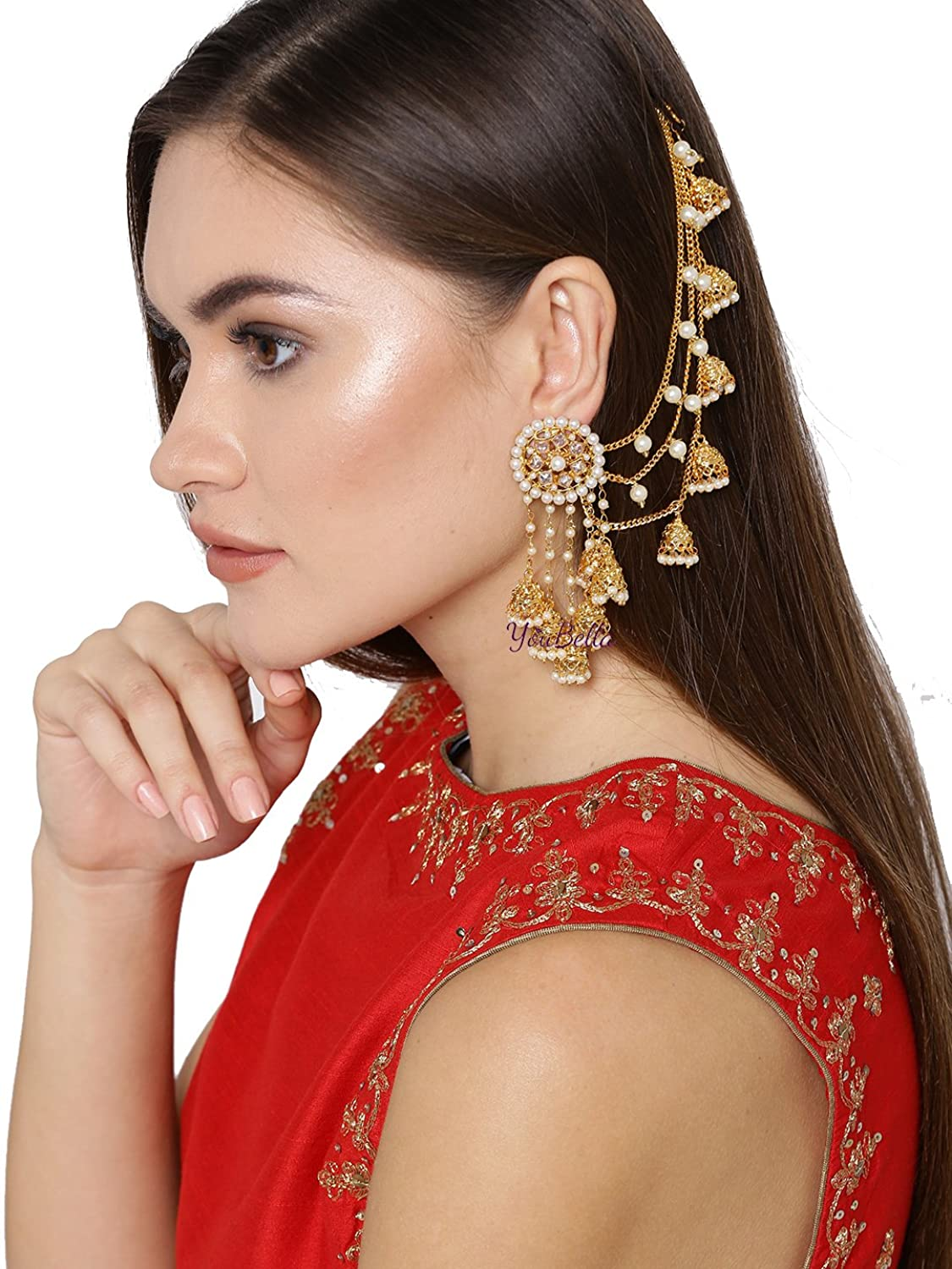 Youbella Jewellery Traditional Stylish Gold Plated Pearl Fan