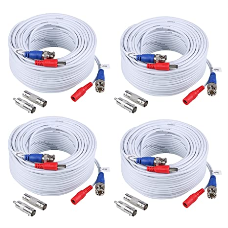 ANNKE 4 x 30M BNC Cables Cinch de Seguridad de Cámara Videocable Seguridad Conector CCTV DVR