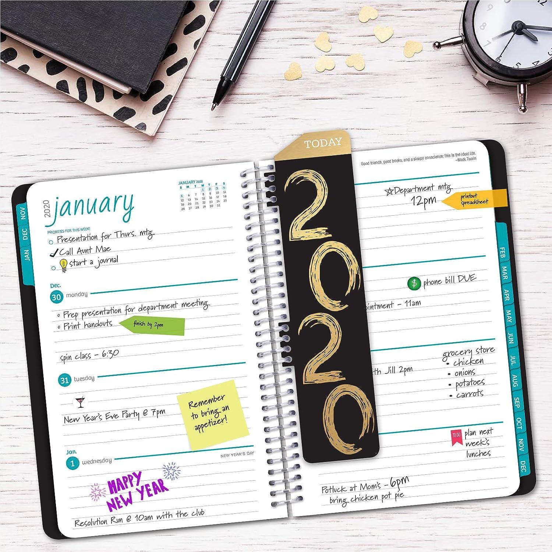 5.5x8 Daily Weekly Monthly Planner Yearly Agenda HARDCOVER Calendar Year 2020 Planner: Pocket Folder and Sticky Note Set 2020 Black /& Gold Bonus Bookmark November 2019 Through December 2020
